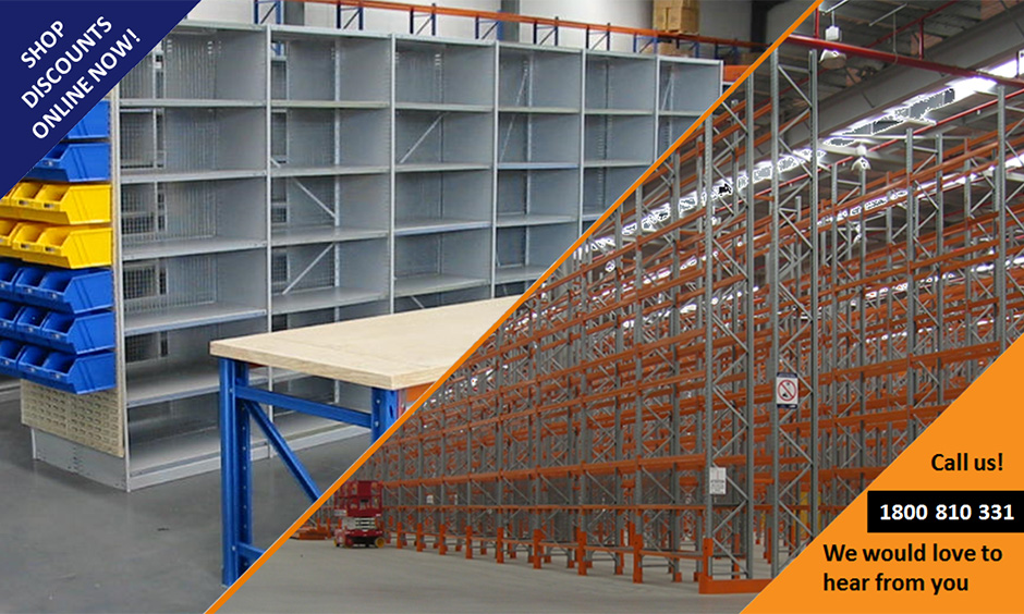 Warehouse Pallet Racking<br /> Shelving, benches and parts bins<br /> Office, Store, Cool room, Workshop<br /> for Files, Archive, Apparel, Food, Produce, Goods